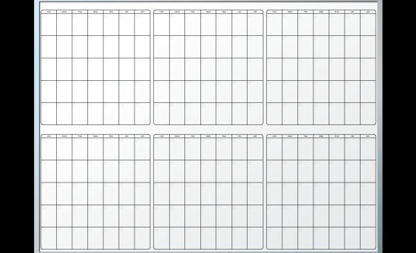 Six month calendar whiteboard template